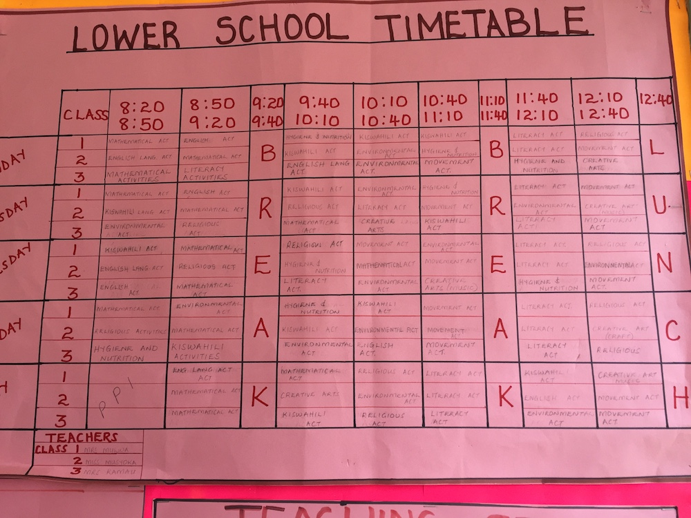 Lower school timetable - The Fursa Trust